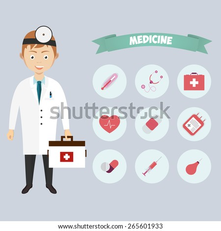 Smiling happy male doctor with glasses surrounded by medical icons with an ambulance  stethoscope  first aid kit  hypodermic  syringe  test  tubes  chart  heartbeat  pulse  heart  pills  tablets - stock photo