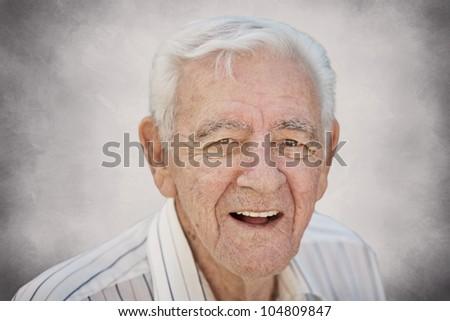 Smiling happy old senior man closeup - stock photo