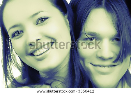 smiling, happy pair young people, close up - stock photo