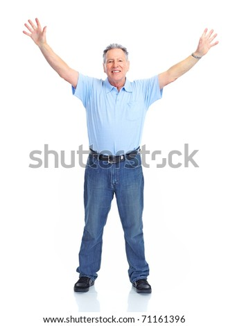 Smiling happy senior  man. Isolated over white background - stock photo