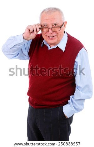 Smiling happy senior old man looking to camera and holds the glasses right hand. Isolated - stock photo