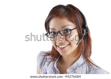 Smiling Hispanic Call Center Employee - stock photo