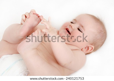 smiling infant baby - the first year of the new life - stock photo