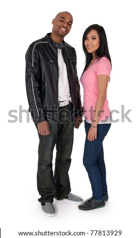 Smiling interracial couple - African American guy with Asian girlfriend. - stock photo