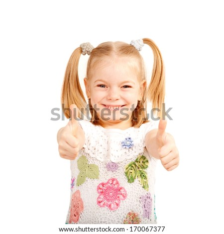 Smiling kid showing thumbs up symbol. Isolated on white background - stock photo