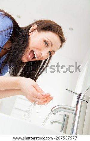 smiling laughing getting ready for bed - stock photo