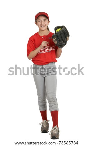 Smiling laughing preteen sports girl in softball uniform - stock photo