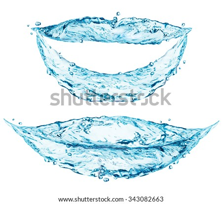 Smiling lips made of blue water splash isolated on white background - stock photo