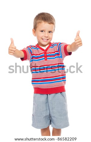 Smiling little children with thumbs up sign, isolated on white - stock photo