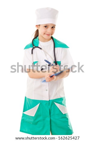 Smiling little girl in a doctor costume, isolated on white - stock photo