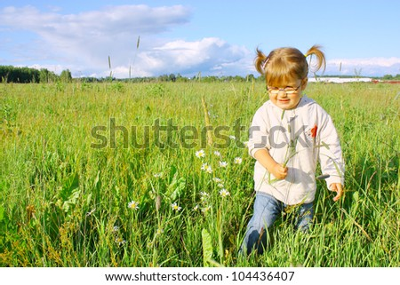 Smiling little girl in glasses on the meadow - stock photo