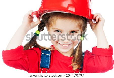 Smiling Little girl with a red helmet isolated on a over white - stock photo