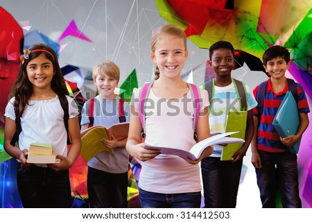 Smiling little school kids in school corridor against angular design - stock photo