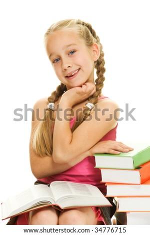 Smiling little schoolgirl - stock photo