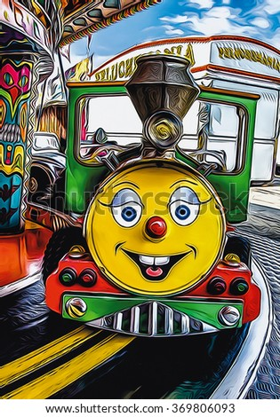Smiling locomotive riding for children. FRANCE - August 15.2015: Children's attraction in a carnival carousel of southern France. - stock photo