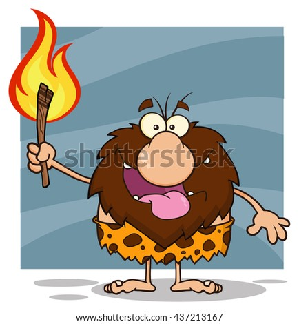 Smiling Male Caveman Cartoon Mascot Character Holding Up A Fiery Torch. Raster Illustration Isolated On White Background - stock photo