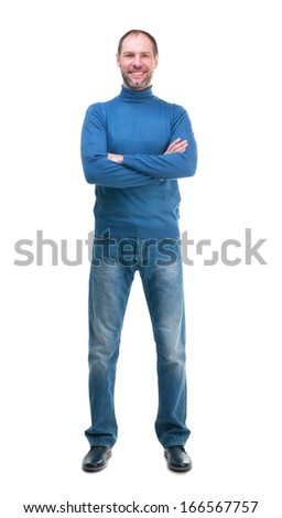Smiling man in blue poloneck isolated on a white background - stock photo