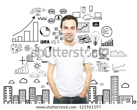 smiling man in t-shirt and business concept - stock photo