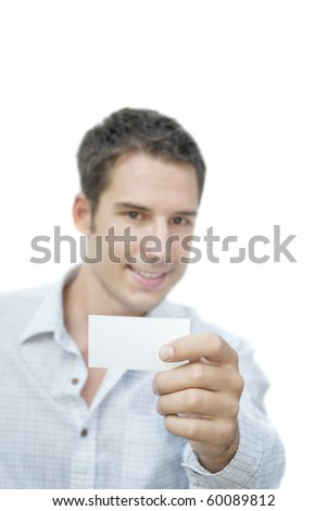 Smiling man showing blank card - stock photo