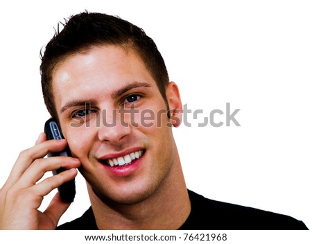 Smiling man talking on a mobile phone isolated over white - stock photo