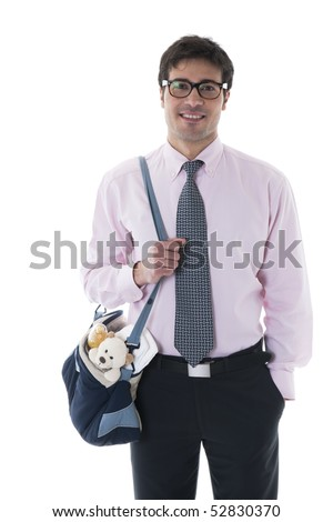 Smiling man with diaper bag - stock photo