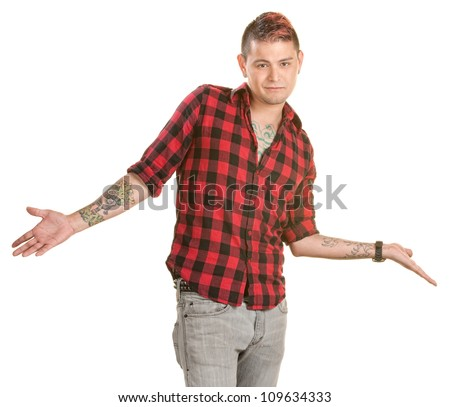 Smiling man with hands out over white background - stock photo