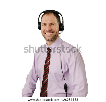 Smiling man with headset isolated on white background - stock photo