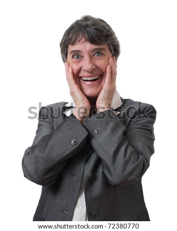 smiling mature businesswoman surprised isolated on white background - stock photo
