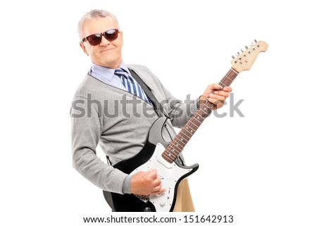 Smiling mature man playing guitar isolated on white background - stock photo