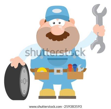Smiling Mechanic Cartoon Character With Tire And Huge Wrench Flat Style. Raster Illustration Isolated On White - stock photo