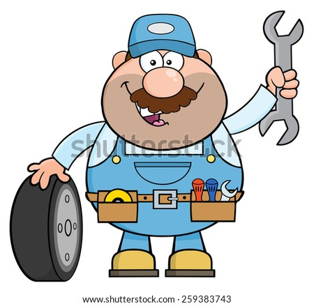 Smiling Mechanic Cartoon Character With Tire And Huge Wrench. Raster Illustration Isolated On White - stock photo