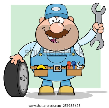 Smiling Mechanic Cartoon Character With Tire And Huge Wrench. Raster Illustration With Background - stock photo