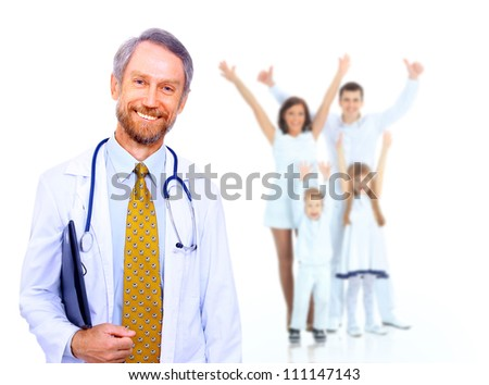Smiling medical doctor and happy family - stock photo