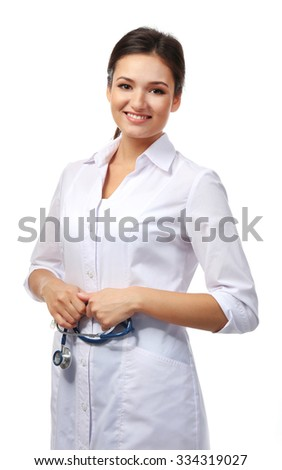 Smiling medical doctor isolated on white - stock photo