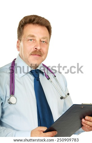 Smiling medical doctor standing with folder. Isolated over white background - stock photo