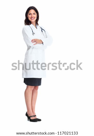 Smiling medical doctor woman with stethoscope. Isolated over white background. - stock photo