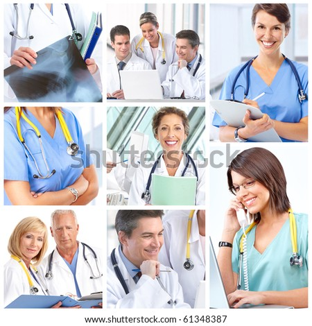 Smiling medical doctors with stethoscope. - stock photo