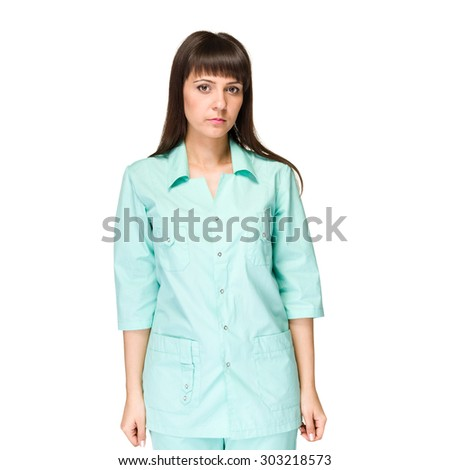 Smiling medical woman doctor.  Isolated over white background - stock photo