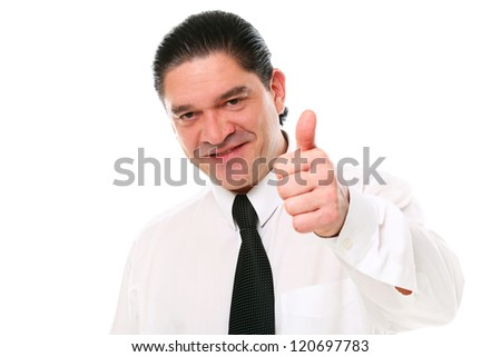 Smiling mid aged businessman showing thumbs up over a white background - stock photo