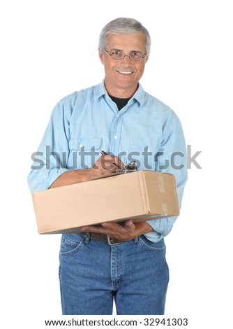Smiling Middle Aged Deliveryman with Parcel and Clipboard isolated on white - stock photo