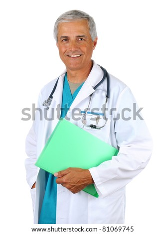 Smiling middle aged doctor holding a patients chart. Man is wearing a lab coat and scrubs with  stethoscope around his neck. Vertical format on a white background. - stock photo