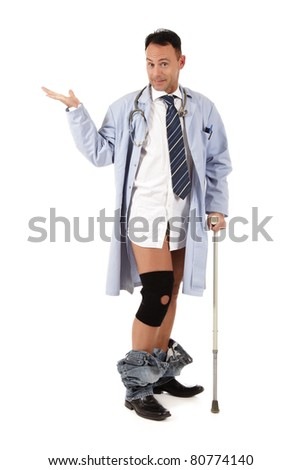 Smiling Middle aged injured, handicapped, caucasian man doctor. Studio shot. White background - stock photo