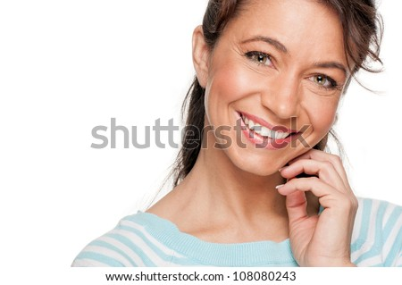 Smiling middle aged woman - stock photo