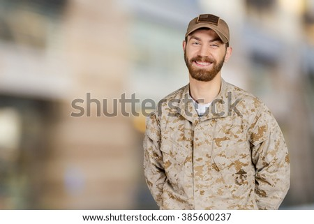 Smiling Military Man - stock photo