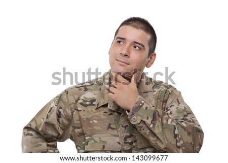 Smiling military soldier looking away - stock photo