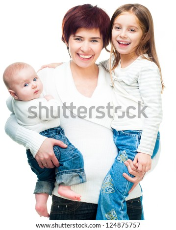 Smiling mother with daughters isolated on a white background - stock photo