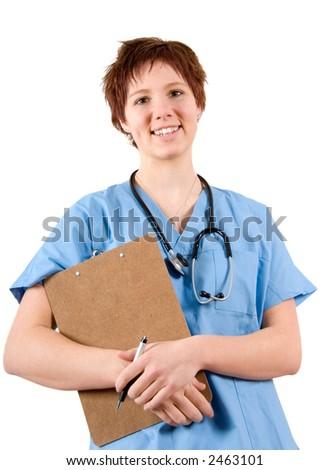 smiling nurse in blue scrubs on white background - stock photo