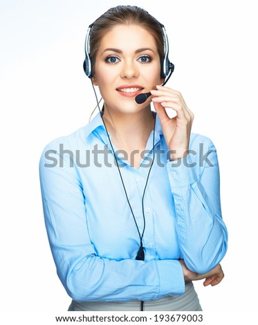 Smiling office worker. Call center operator. - stock photo