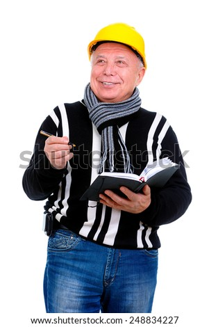 Smiling old man construction worker with helmet is checking the progress of completed work. Isolated - stock photo