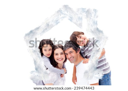 Smiling parents giving their children a piggyback ride against house outline in clouds - stock photo